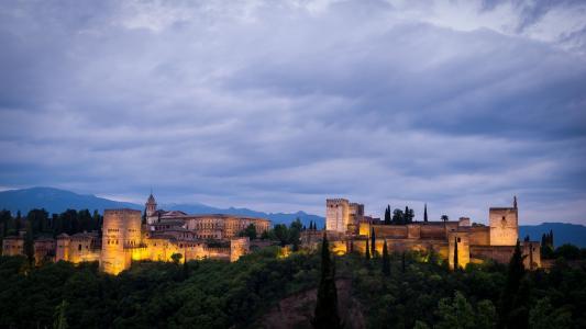 西班牙,格拉纳达,阿罕布拉,城市,城堡