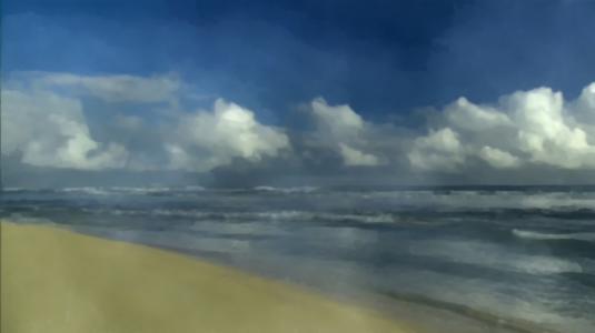 海,天空,手绘