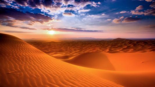 沙漠,沙丘,日落,恐怖