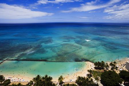 天空,夏威夷,海洋,夏威夷,美国,手掌,云,美国