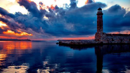 灯塔,海,日落
