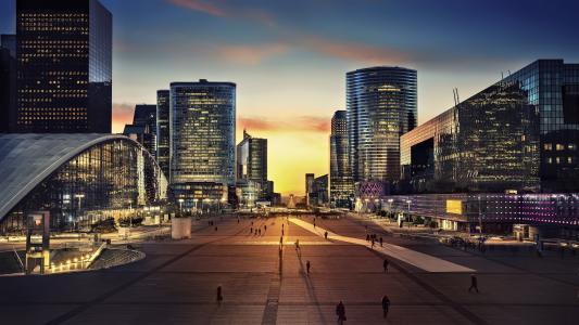巴黎,人,街,摩天大楼,灯