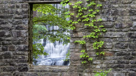 瀑布,性质,风景,墙壁,石头,叶子,葡萄藤,阿肯色州,美国