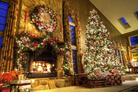 壁炉,圣诞树,新年,礼物,房子