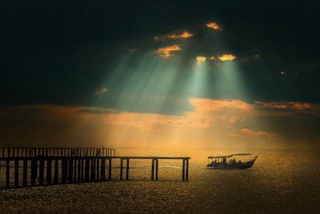 船,渔民,早上,海