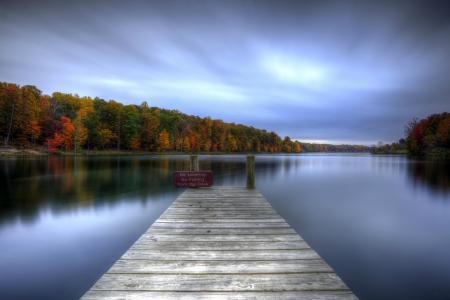标志,水,木,光滑的表面,湖,秋,桥