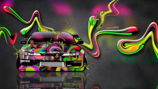 东尼柯尼,日产,西尔维娅,S14,JDM,艺术,超级,塑料,气象,Multicolors,霓虹灯,Photoshop,埃尔托尼汽车,设计,高清壁纸,托尼Kohan,Photosho