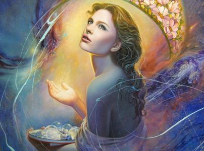 克里斯蒂安Vleugels,艺术,女孩,脸,看,头发,背,手,光,灯泡