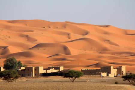 摩洛哥,沙漠,沙,巴尔汗,村庄,风景,伤心