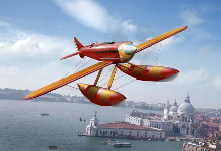 在,意大利,天空,空气,艺术,水上飞机,飞机,意大利。