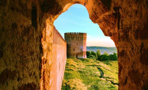 拱,墙,堡垒塔,树,草