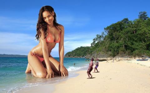 女孩,沙滩,人们