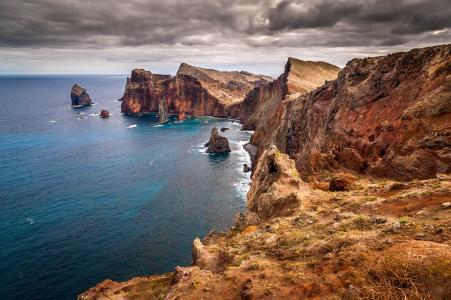 天空,水,岩石,云,海洋,海,悬崖,石头