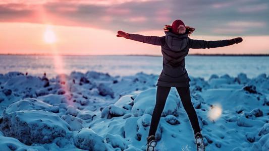 冬天,女孩,河,石头,雪,美丽,照片,积极
