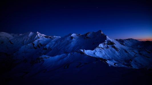 山,星星,夜晚,高峰,雪