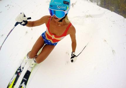 山,滑雪,比基尼,眼镜,头盔,太阳,女运动员