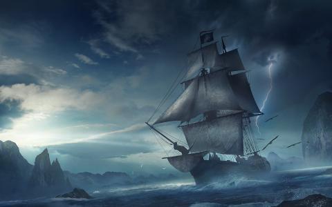 艺术,船舶,帆船,黑暗的背景,幻想,海盗,山,湾,闪电,美丽