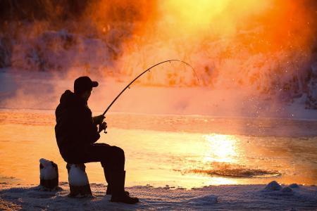 钓鱼,河流,美丽