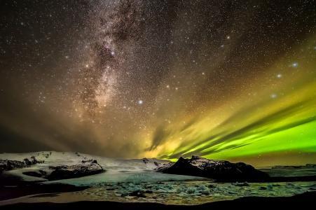 天堂别致,极光,星星,天空,银河,美女,北极光