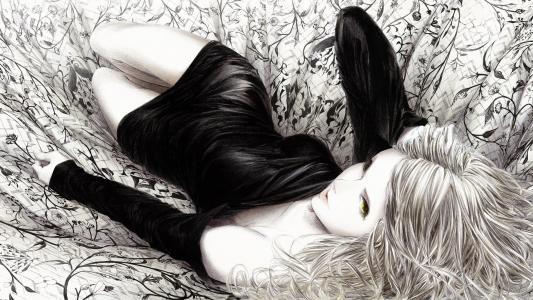 布,单色,女孩,sawasawa,绘画,说谎,艺术