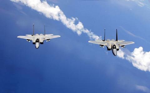 F-15,战斗机,飞,天空,翅膀,枪