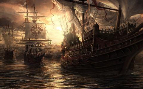 艺术,绘画,船舶,帆船,美丽