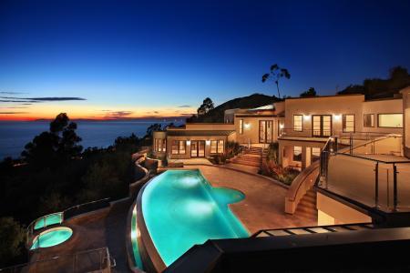 晚上,大海,沙滩,游泳池,别墅