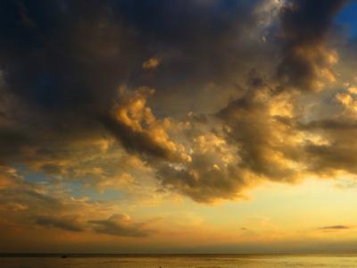 云,海,云,波浪,日落,太阳,美丽,夏天,海滩,海风,水,天堂,天空