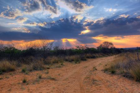 纳米比亚,非洲,南非,云,景观,日落,性质