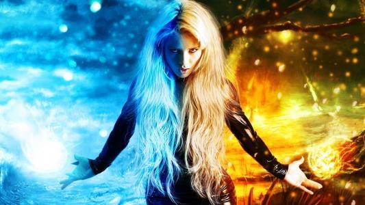 女孩,长发,金发女郎,photoshop,幻想,元素,火,霜,看