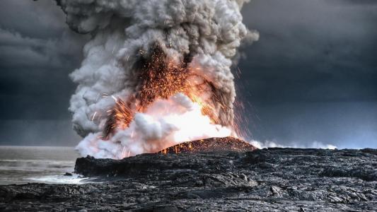 火山,熔岩,夏威夷,爆发,海洋