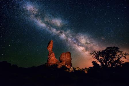 银河系,夜晚,峡谷,天空,沙漠,星星