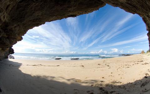 海,沙,岸,岩石,视图,洞穴