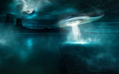 情况不明飞行物不明飞行物绑架男人晚上水湖湖树平台码头山山脉植物管道圈膝上电力线雾星月亮幻想