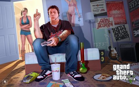 侠盗猎车手5,Rockstar游戏,gta,房间,男孩,女孩,吉米,崔西,海报,特蕾西和吉米