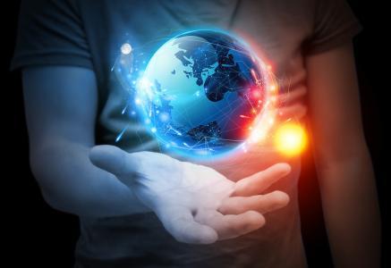 太阳,大陆,手,衬衫,行星,人,气球