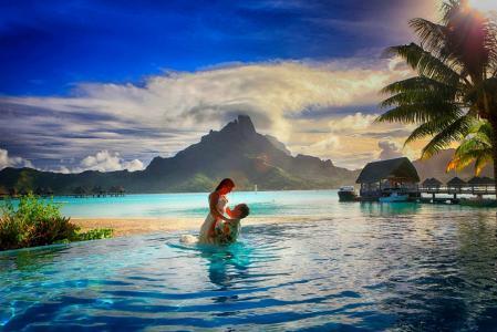照片,人,度假村,法属波利尼西亚,池,积极,热带地区