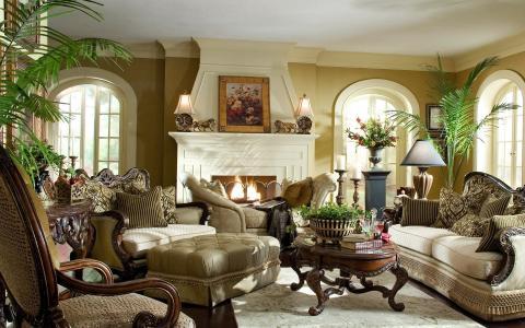 绘画,房间,雕像,壁炉,经典,沙发
