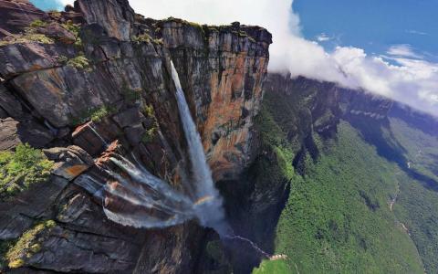 天使,瀑布,山,水,树,河