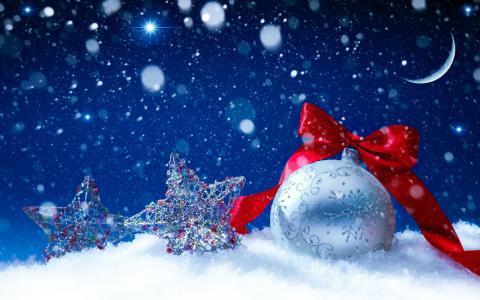 圣诞玩具,雪,月亮,红色的弓