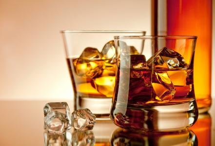 饮料,立方体,瓶,眼镜,酒精,冰,威士忌酒