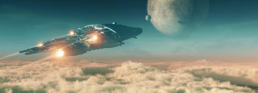 天空,飞行,船,行星,空间,3d