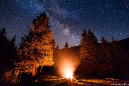 吉尔吉斯斯坦,夜晚,篝火,高山,天空,安东尼·佩特鲁斯