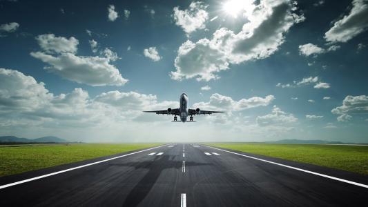 飞机,起飞,机场,天空