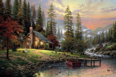 性质,秋季,森林,树木,房子,天空,石头,流,云