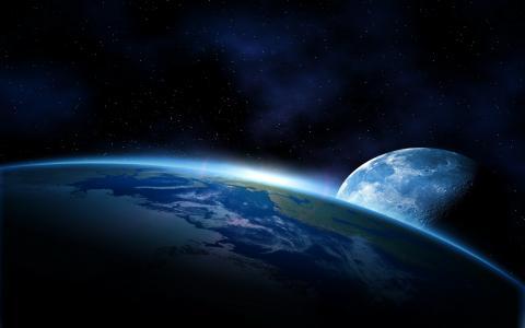 艺术,月亮,地球,美丽,空间,星星,气氛