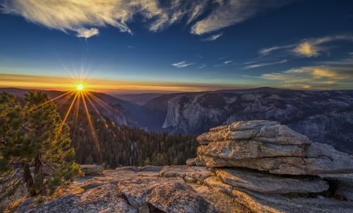自然,美国,公园,优胜美地国家公园,山,森林,冬天,太阳,天空,美丽