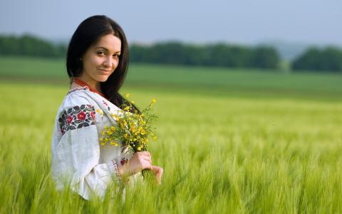鲜花,女孩,场,夏天