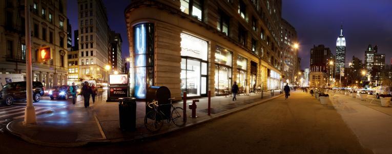夜,纽约,纽约,麦迪逊广场公园,全景,纽约,夜,美国
