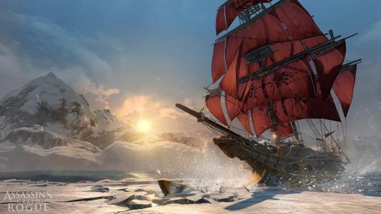 刺客信条弃儿,刺客,猎人,刺客信条,冬天,北极光,船,帆,海
